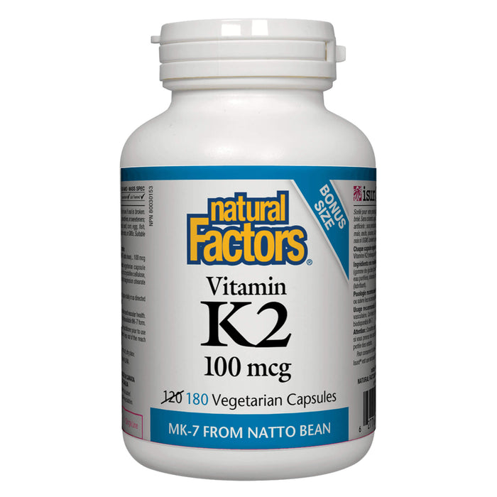 Bottle of Natural Factors Vitamin K2 100 mg 180 Capsules