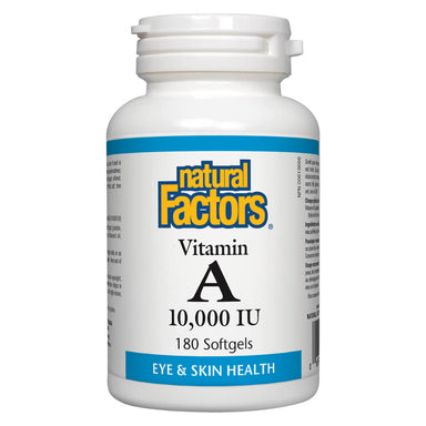 Bottle of Natural Factors Vitamin A 10000 IU 180 Softgels