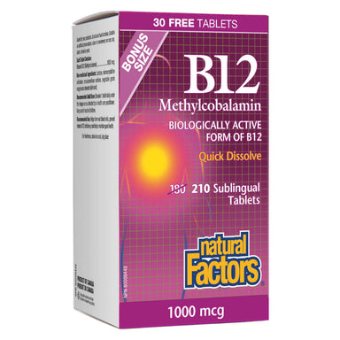 B-12 Methylcobalamin 1000 mcg 210 Sublingual Tablets Bonus Size