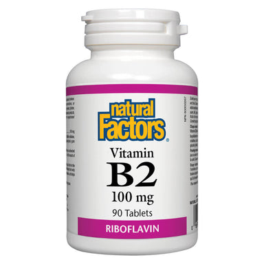 Bottle of Natural Factors Vitamin B2 Riboflavin 100 mg 90 Tablets