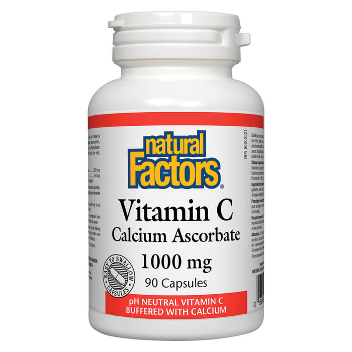 Bottle of Vitamin C Calcium Ascorbate 1000 mg 90 Capsules