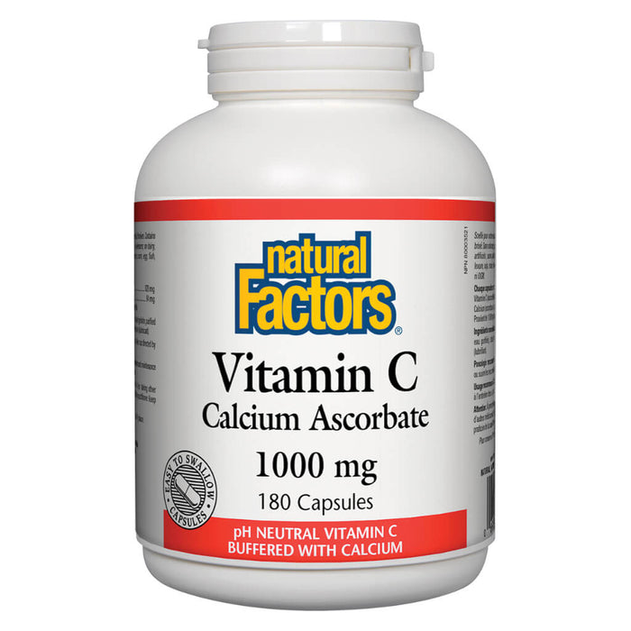 Bottle of Vitamin C Calcium Ascorbate 1000 mg 180 Capsules