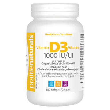 Bottle of Prairie Naturals Vitamin D3 1000 IU 500 Softgels