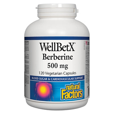 Bottle of WellBetX® Berberine 500 mg 120 Vegetarian Capsules