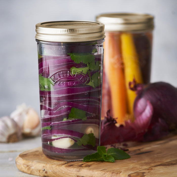 Kilner Preserve Jar Filled with Pickled Red Onions and Carrots
