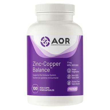 Bottle of AOR Zinc-Copper Balance™ 17 mg 100 Capsules