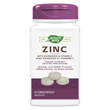 Bottle of Nature's Way Zinc w/ Echinacea & Vitamin C Natural Wild Berry Flavour 60 Lozenges