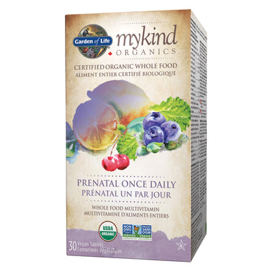 Box of Garden of Life mykind Organic Prenatal Once Daily Multi 30 Vegan Tablets