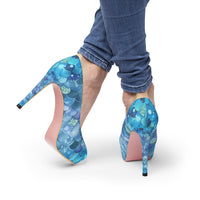 Blue Bokeh Mermaid Print Women's Platform Heels