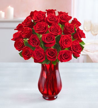 Flowers Two Dozen Red Roses with Red Vase