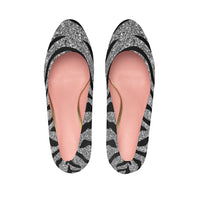 Silver Glitter with Tiger Stripes Print Design Women's Platform Heels