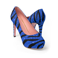 Blue Glitter with Tiger Stripes Print Women's Platform Heels