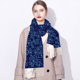 Light Blue on Blue Roses Scarf Cashmere Feel