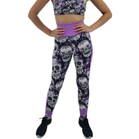 Jean Neon Purple Sugar Skull Leggings Adult XS- Adult 3XL