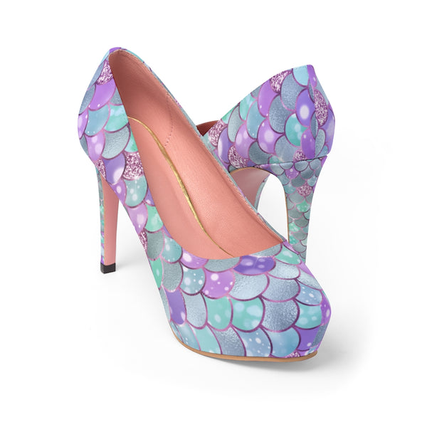 Purple & Turquiose Bokeh Mermaid Print Women's Platform Heels