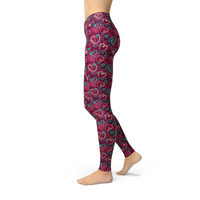 Jean Magenta Hearts Leggings Adult XS-Adult 3XL