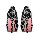 Black with Light Gray Giraffe Print Women's Platform Heels