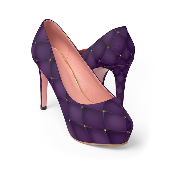 Bewitching Gold on Purple Print Women's Platform Heels