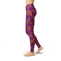 Jean Purple Cheetah Print Leggings Adult XS- Adult 3XL