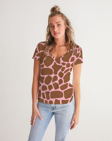 Giraffe with Pink  Women's V-Neck Tee
