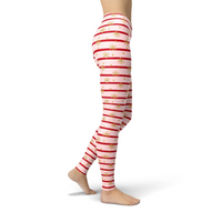 Jean Pink Holiday Stripes Leggings Adult XS- Adult 3XL