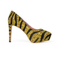 Gold Glitter with Tiger Stripes Print Women's Platform Heels