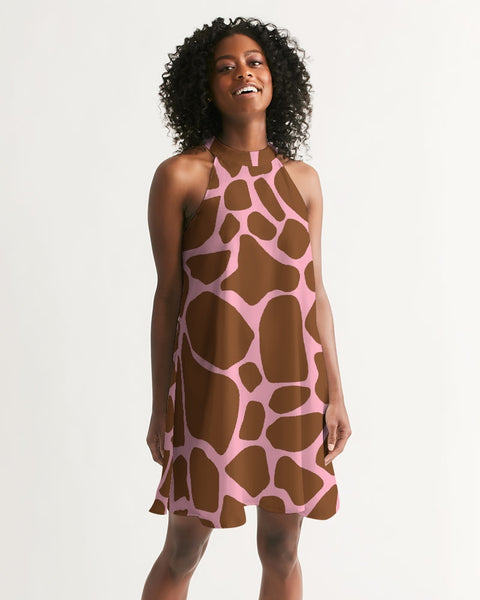 Giraffe with Pink  Women's Halter Dress