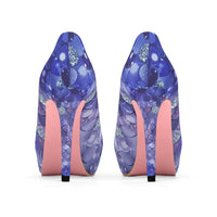 Dark Blue Bokeh Mermaid Print Women's Platform Heels