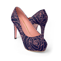 Rose Foil Outline on Dark Blue Women's Platform Heels