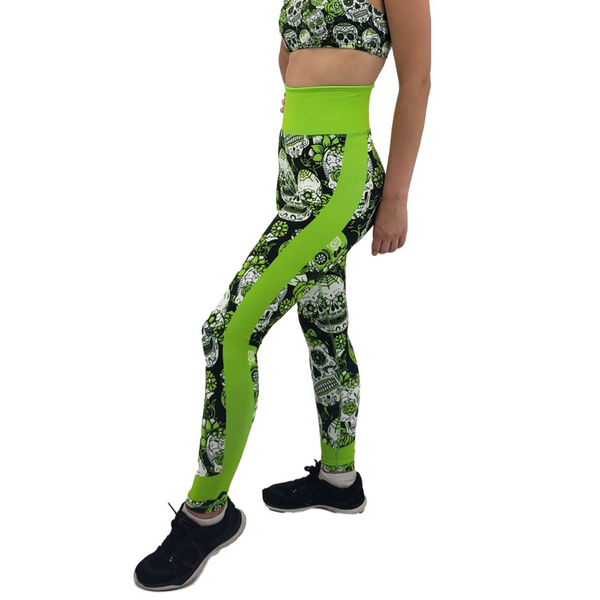 Jean Neon Green Sugar Skull Leggings Adult XS- Adult 3XL