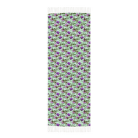 Purple Flowers and Dragonflies on Light Green Winter Scarf Cashmere Feel