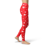 Jean Red Snowflake Leggings Adult XS- Adult 3XL