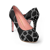 Black with Dark Gray Giraffe Print Women's Platform Heels