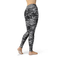 Jean Black Lace Leggings Adult XS- Adult 3XL