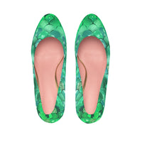 Green Bokeh Mermaid Print Women's Platform Heels