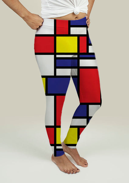 Leggings with Mondrian Design