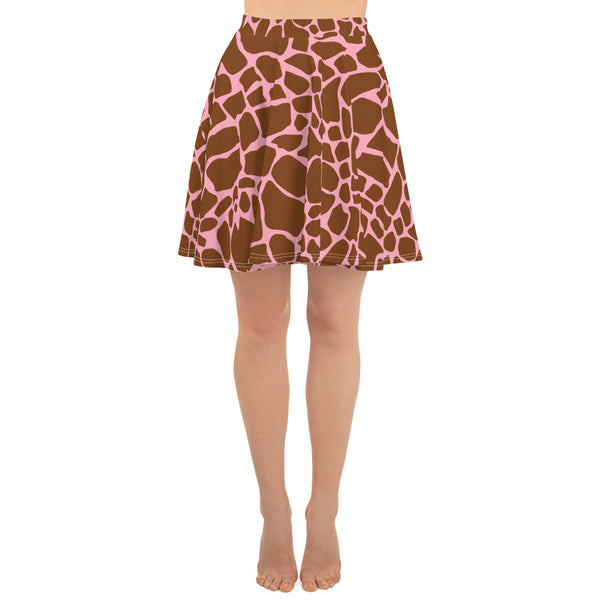 Giraffe with Pink Print Women's Skater Skirt with Thin Waist Band
