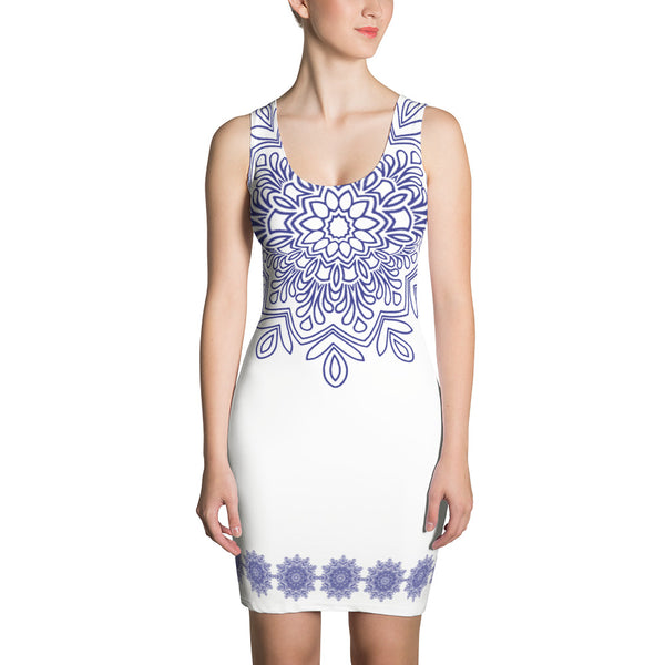 Purple Design on White Dress
