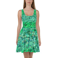 Green  Mermaid Bokeh Print Skater Dress