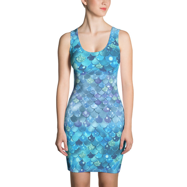 Blue Mermaid Bokeh Print Dress
