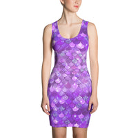 Purple Mermaid Bokeh Print Dress