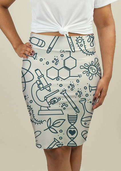 Pencil Skirt with Science Pattern