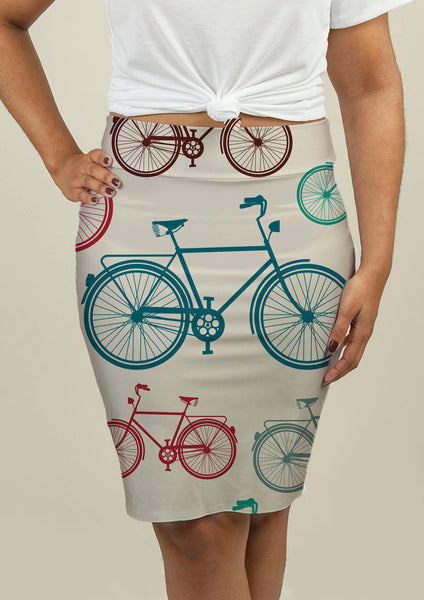 Pencil Skirt with Vintage Bicycles