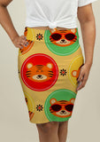 Pencil Skirt with Baby Tigers