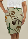 Pencil Skirt with Skull and Swords