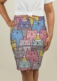 Pencil Skirt with Cats at Christmas