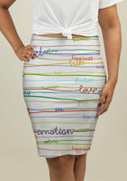 Pencil Skirt with Stripe Pattern with words