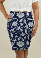 Pencil Skirt with White Floral on Blue Pattern