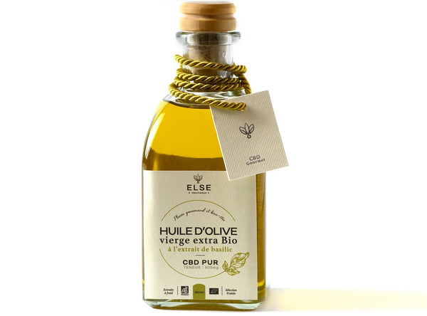 Organic Extra Virgin Olive Oil with CBD - Infused with Basil
