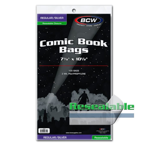 BCW REGULAR/SILVER AGE COMIC BAGS - RESEALABLE